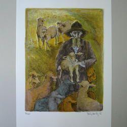 Brigitta Enz - Hirte - Original Lithographie, 40/125, signiert - 57 x 76 cm