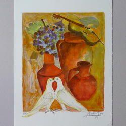 Alban Welti - Weintrauben - Lithopraphie, Épreuve d'artiste, signiert - 34 x 44 cm