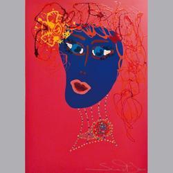Simon et Bruno - Portrait auf Pink - Email auf Leinwand - 50 x 70 cm
