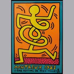 Keith Haring - Montreux 1983 - Serigraphie, in Wechselrahmen - 70 x 100 cm