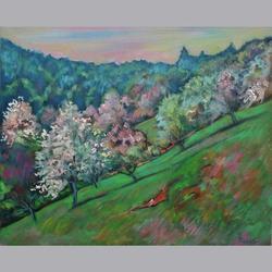Paul Kachler - Landschaft Frühling Blust - Öl auf Leinwand - 61 x 50 cm