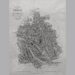 Kanton Zürich - Lithographie - 21 x 28 cm