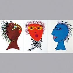 Simon et Bruno - Gesichter 3-teilig - Acryl - 3 Einzelbilder à je 40 x 50 cm