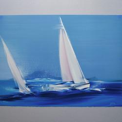 Victor Spahn - Au Large de l'Ile Margaux - Originallithographie, nummeriert, signiert - 76 x 56 cm