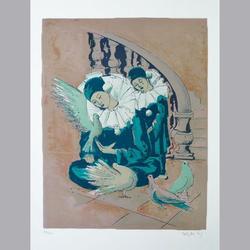 Brigitta Enz - Harlekin - Original Lithographie, 113/150, signiert - 50 x 70 cm
