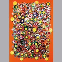 Simon et Bruno - Kreise auf orangem Grund - Email auf Leinwand - 50 x 70 cm