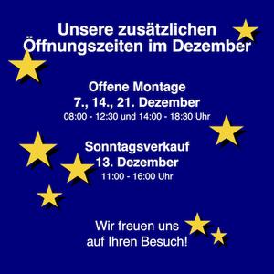 Öffnungszeiten Dezember